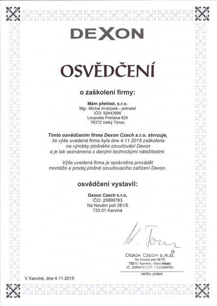 MamPrehled_cert_Andrysek2015_Dexon